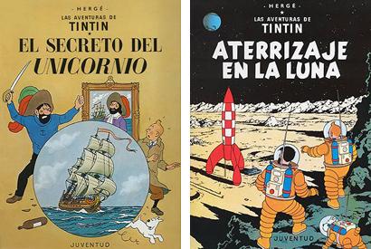 Tintin El secreto del Unicornio Aterrizaje en la Luna Herge