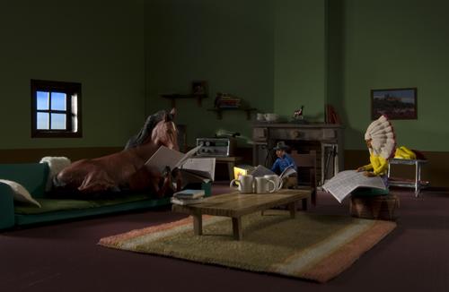 """Cavall, Vaquer i Indi, protagonistes de """"Pànic a la Granja""""."""