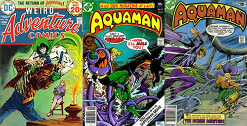 "Portades originals de ""Adventure Comics Vol 1 #435"" (1974), ""Aquaman Vol 1 #57"" (1977) i ""Aquaman Vol 1 #63"" (1978)"
