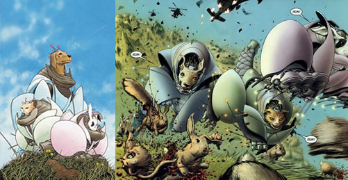 "Vinyetes de ""WE3"" de Grant Morrison i Frank Quitely."