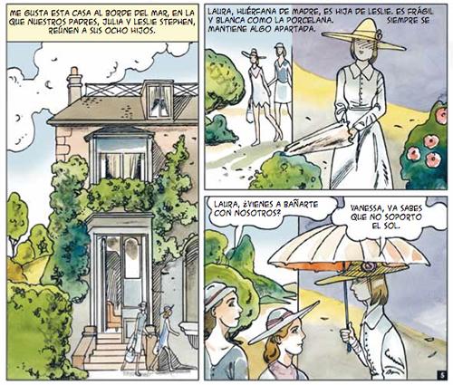 "Vinyetes de ""Virginia Woolf"" de Michèle Gazier i Bernard Ciccolini."