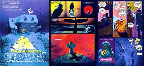 """Imatges de l'adaptació de """"El cuervo"""" d'Edgar Allan Poe, per Richard Corben."""