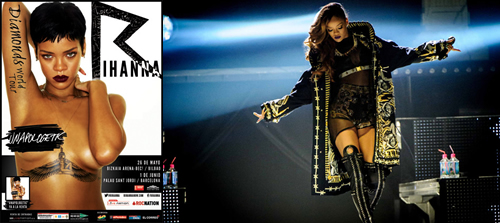"Cartell ""Diamonds World Tour"" al Palau Sant Jordi i imatge del tour."