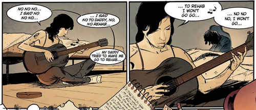 """Vinyetes del còmic """"Amy Winehouse"""", dibuix per Javi Fernández"""