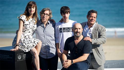 """David Trueba i els actors de """"Vivir con los ojos cerrados"""" a San Sebastián"""