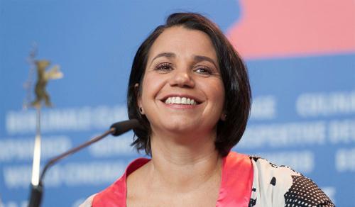 "La directora Celina Murga, presentant ""La tercera orilla"" a la sala de premsa de la Berlinale"