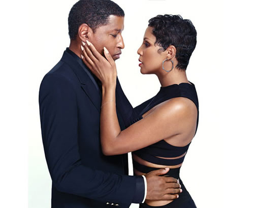 "Imatge promocional de Babyface i Toni Braxton per a ""Love, marriage & divorce""."
