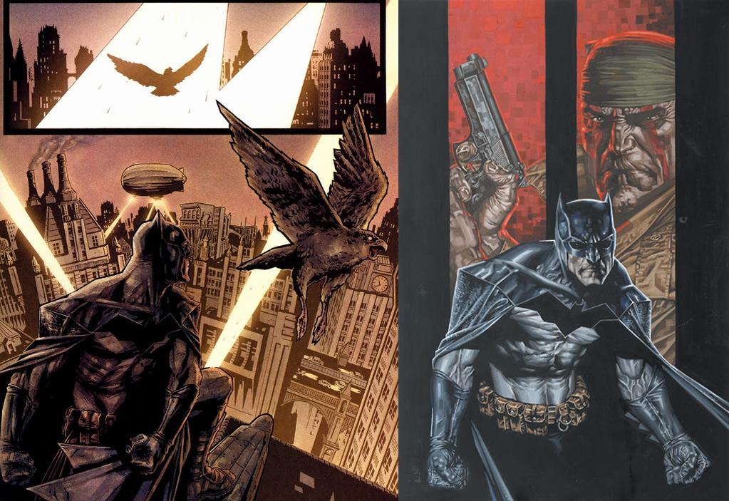 """Viñetas de """"Batman: Fuego cruzado"""" de Brian Azzarello y Lee Bermejo."""