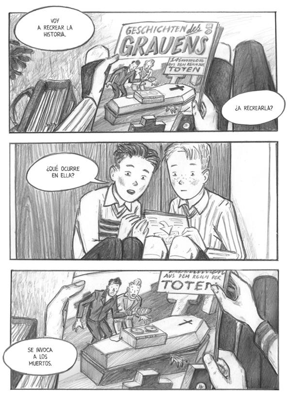 """Viñetas de """"Espíritu Maligno"""" de Peer Meter y Gerda Raidt (Ed.La Cúpula)"""
