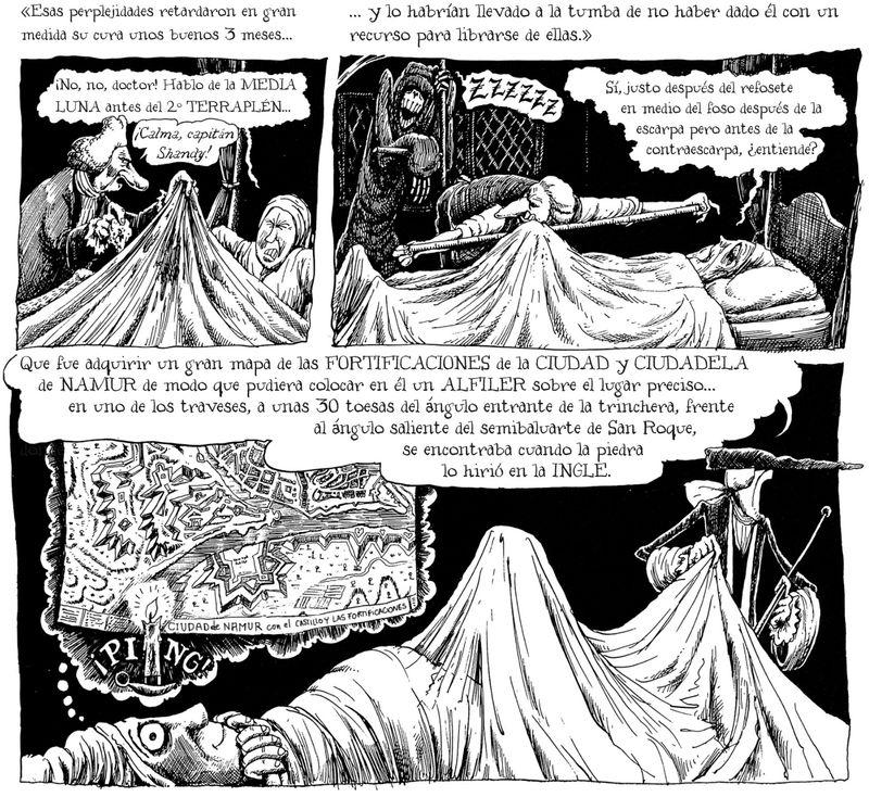 """Viñetas de """"Vida y opiniones de Tristram Shandy, caballero"""" de Martin Rowson (Ed. Impedimenta)"""