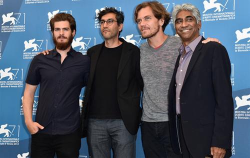 """Andrew Garfield, Ramin Bahrani i Michael Shannon a la presentació de """"99 homes"""" a Venecia"""