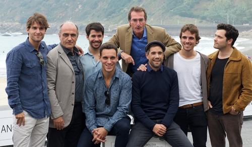 """L'equip de """"Lasa y Zabala"""" després de presentar la pel.lícula a la premsa"""