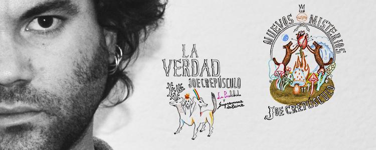 """Joe Crepúsculo amb els disseny de les portades de """"La Verdad"""" i """"Nuevos Misterios"""""""