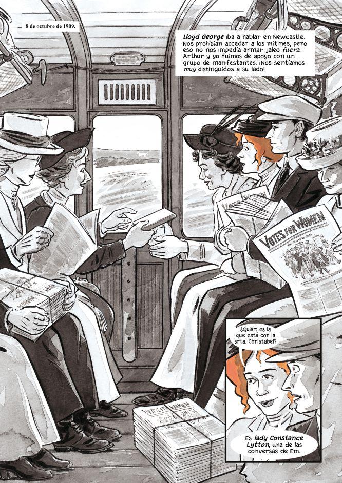 """Sally Heatchcote: Sufragista"" Mary M. Talbot, Kate Charlesworth y Bryan Talbot. Ediciones La Cúpula."