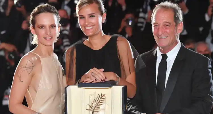 Cannes 2021 Titane Julia Ducorneau. Photograph: Stephane Cardinale - Corbis/Corbis/Getty Images